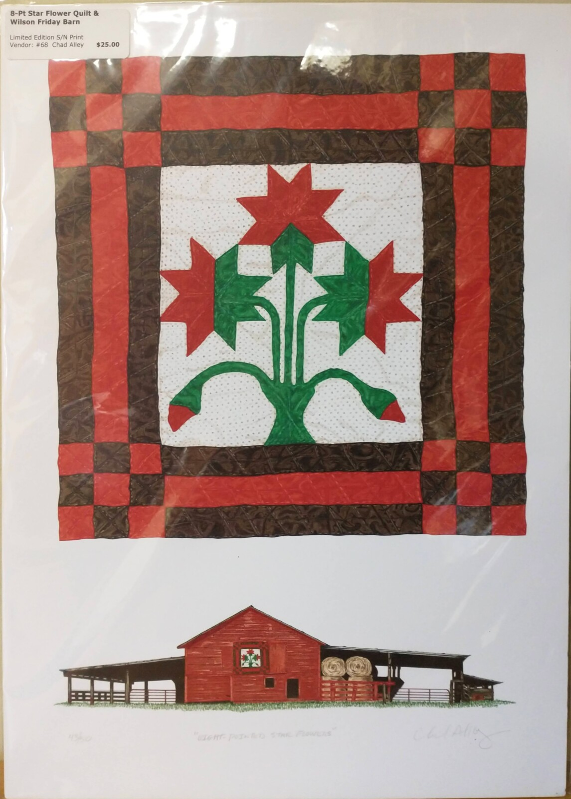 8-Pt Star Flower Quilt & Wilson Friday Barn Print