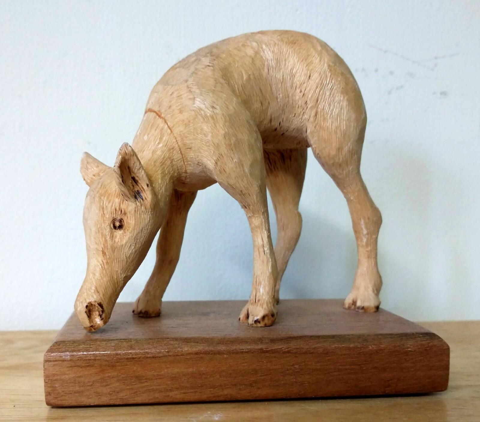 Hand-Carved Wooden Deer