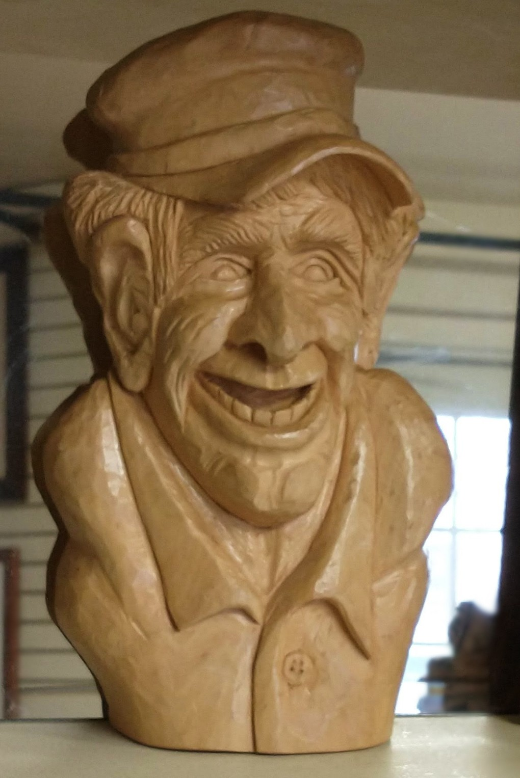 Hand-Carved Wooden Bust of Man
